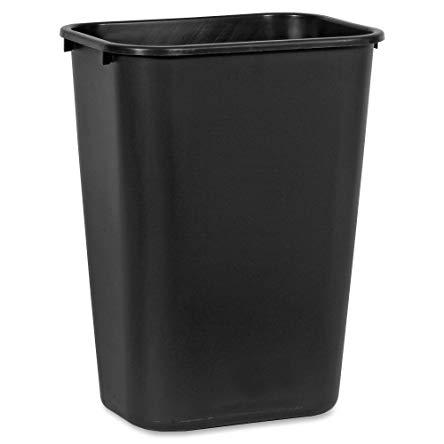 10.25-Gal Deskside Plastic Rectangular Wastebasket Color: Black