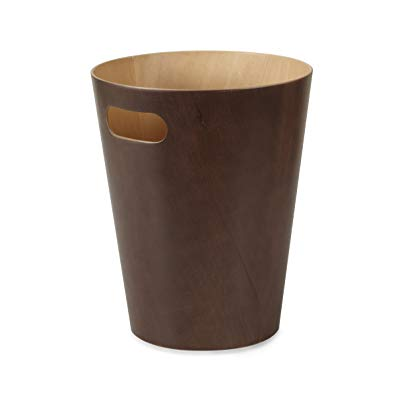 Umbra Woodrow Trash Can – Duo-Tone Wood Wastebasket Garbage Can for Office, Study, Bathroom, Living Room, Powder Room and More, 2 Gallon/7.5 L, Espresso