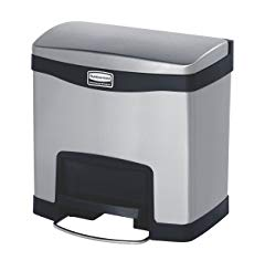 Rubbermaid Commercial Slim Jim Stainless Steel Front Step-On Wastebasket, 4-gallon, Black (1901982)