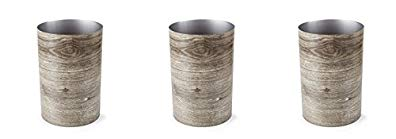 Umbra Treela Small Trash Can – Durable Garbage Can Waste Basket for Bathroom, Bedroom, Office and More, 4.75 Gallon Capacity with Stylish Barn Wood Exterior Finish (3-(Pack))