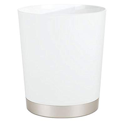mDesign Decorative Round Shatter-Resistant Plastic Small Trash Can Wastebasket, Garbage Container Bin for Bathrooms, Powder Rooms, Kitchens, Home Offices - Satin White Body and Nickel Base
