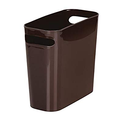 InterDesign Una Slim Wastebasket Trash Can 6 Quart Capacity Waste, 10-Inch, Dark Brown