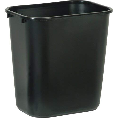 Rubbermaid Commercial FG295600BLA Plastic Deskside Wastebasket, 28-1/8-quart, Black