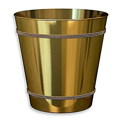 Beaded Metallic Wastebasket in Champagne Gold (1, Gold)