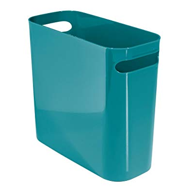 InterDesign Una Wastebasket Trash Can - 10 Inch, Teal