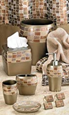 Popular Bath Mosaic Stone Bronze Waste Basket