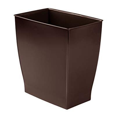 mDesign Rectangular Trash Can Wastebasket, Small Garbage Container Bin for Bathrooms, Powder Rooms, Kitchens, Home Offices - Shatter-Resistant Plastic, Dark Brown