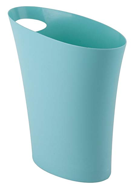 Umbra Skinny Trash Can – Sleek & Stylish Bathroom Trash Can, Small Garbage Can Wastebasket for Narrow Spaces at Home or Office, 2 Gallon Capacity, Surf Blue