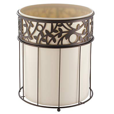 InterDesign Vine Wastebasket Trash Can, Vanilla/Bronze