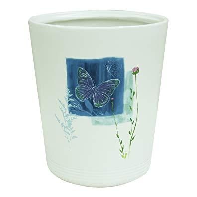 Bacova Guild 89399 Indigo Wildflower Wastebasket Garbage Can Wastebasket