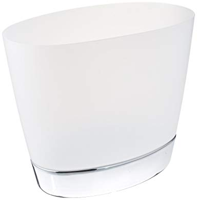 mDesign Oval Wastebasket Trash Can for Bathroom, Kitchen, Office - Clear/Chrome