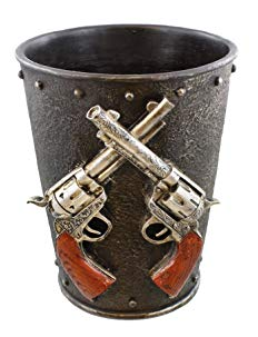 Double Pistol & Faux Cast Iron Waste Basket / Trash Can - Western Gun Revolver Six Shooter